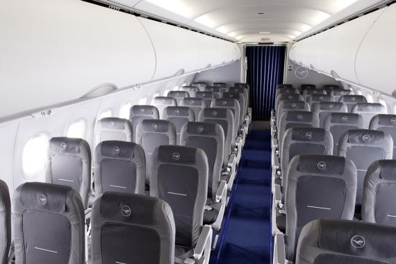 Kabine i Lufthansa-fly. (Arkivfoto: Lufthansa)
