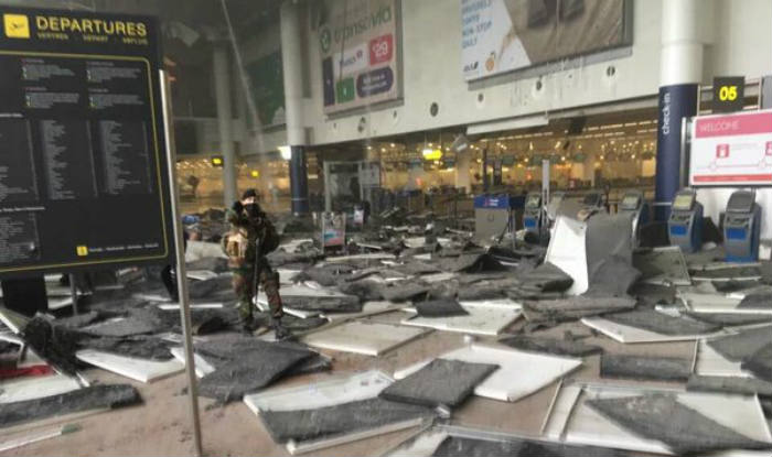 Bombesprængning i Bruzelles-Zaventem. (Foto: SinghLeaks/Twitter)