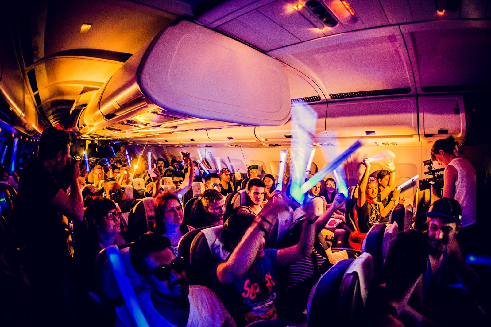 """Arkivfoto: Brussels Airlines """"party flights"""" til Tomorrowland 2015-festivalen."""