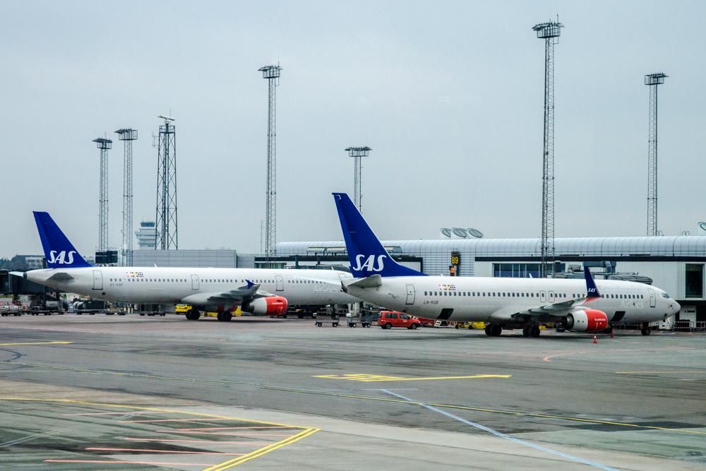 SAS-fly i Københavns Lufthavn (Foto: Morten Lund Tiirikainen)