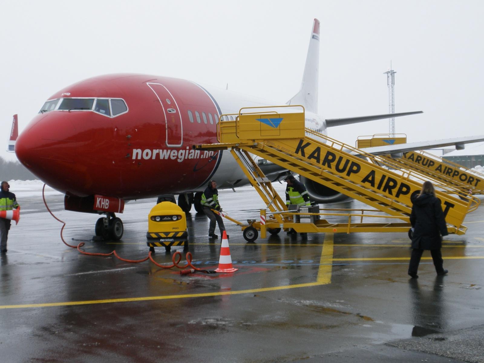 Norwegian-fly i Midtjyllands Lufthavn. (Arkivfoto: Ole Kirchert Christensen)