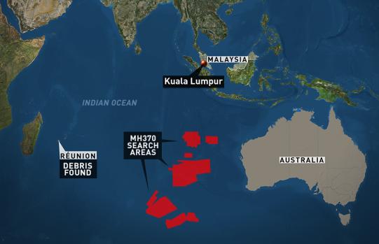 De røde områder viser, hvor man har søgt efter MH370.