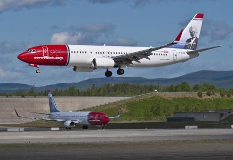 Boeing 737-800 fly fra Norwegian.