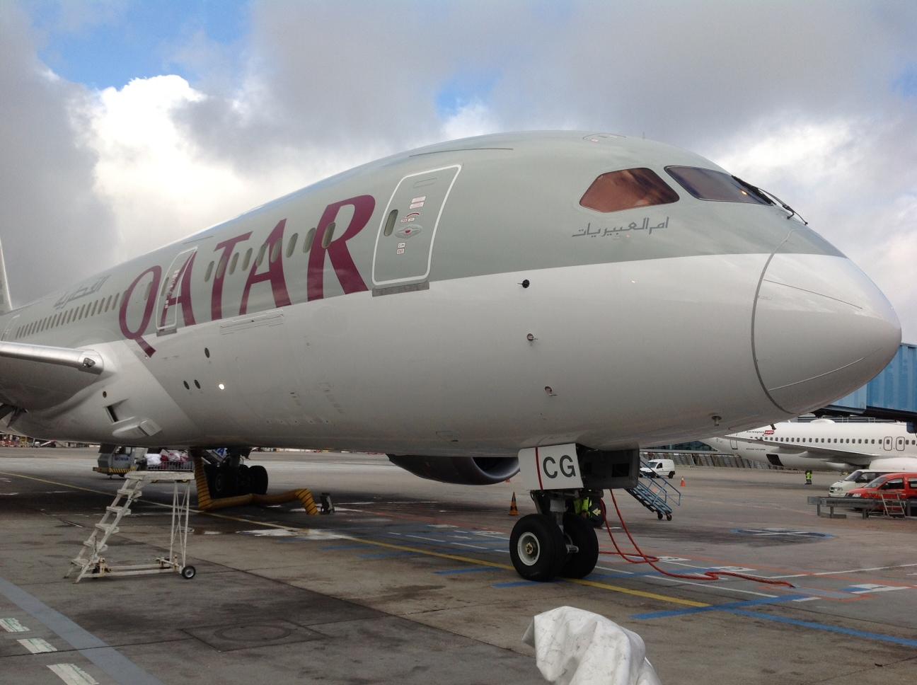 Qatar Airways Boeing Boeing 787 Dreamliner fra Qatar Airways i Københavns Lufthavn. (Foto: Andreas Krog)