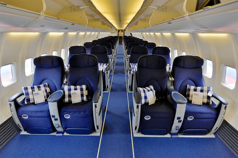 Kabinen i Boeing 737-flyet fra PrivatAir. (Foto: SAS)
