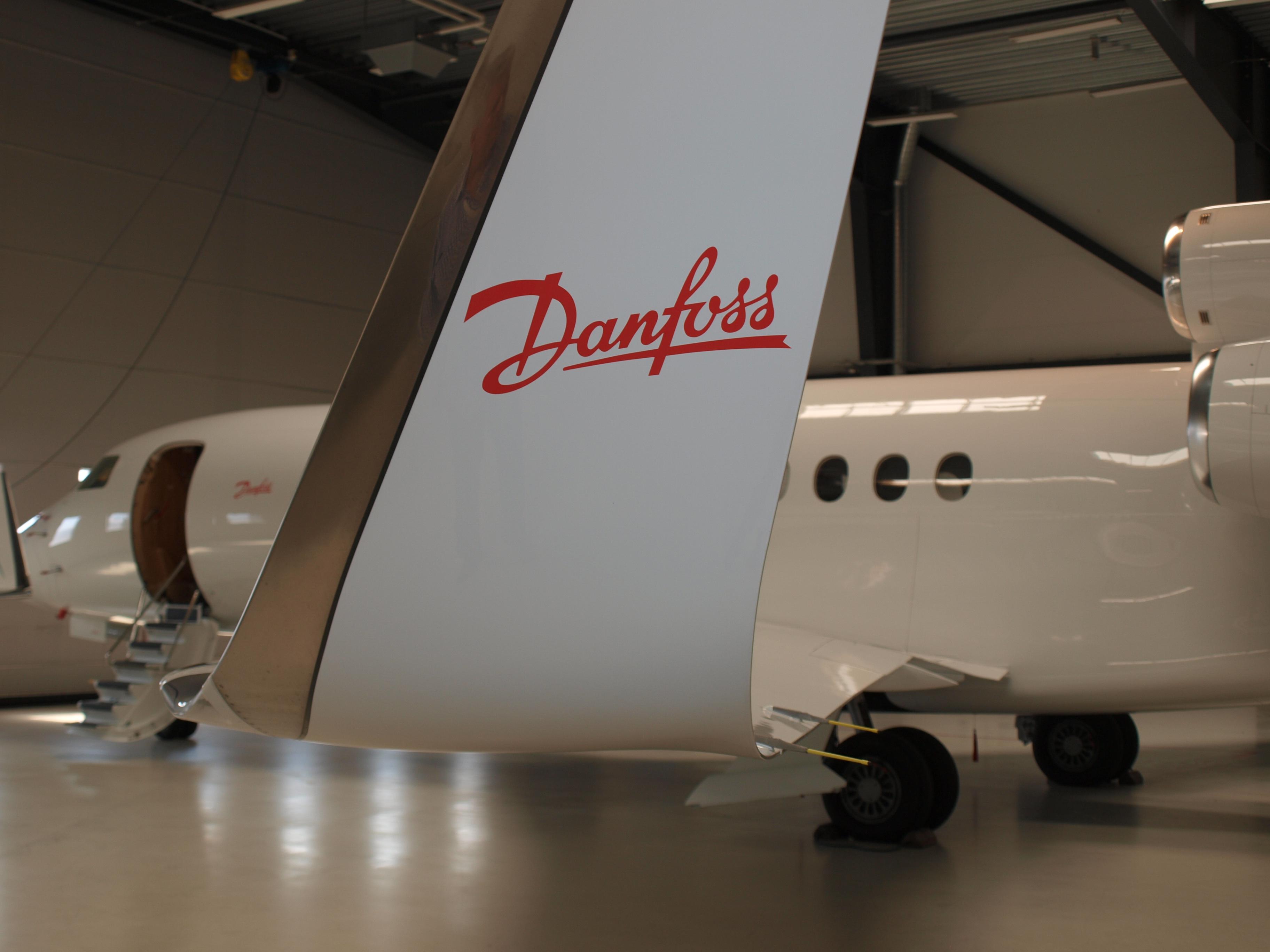 Danfoss-privatjet Falcon 7X i hangaren i Sønderborg Lufthavn (Arkivfoto: Ole Kirchert Christensen)