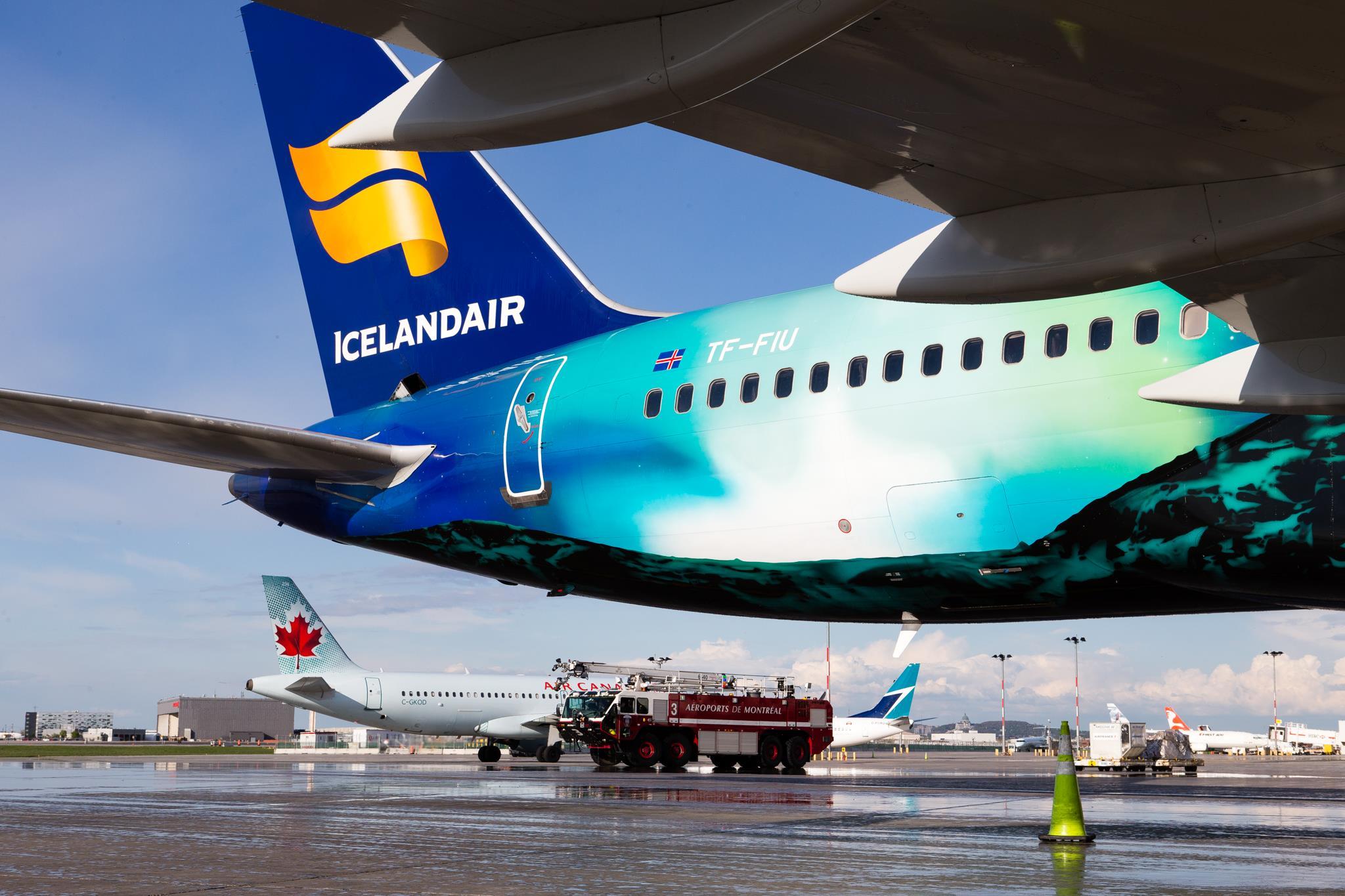 Hekla Aurora foretog åbningsflyvningen fra Keflavik til Montreal. (Foto: Aéroports de Montréal)
