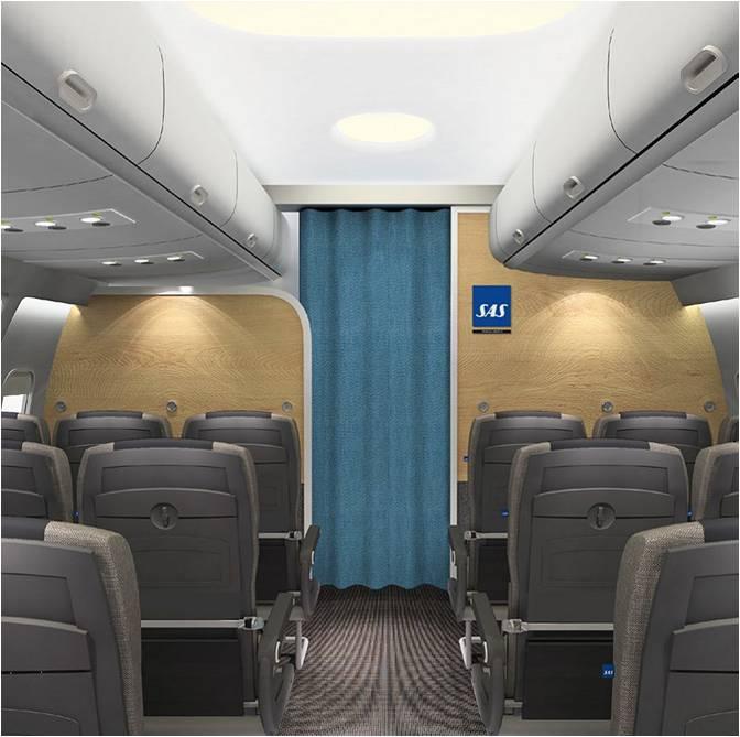 Sådan bliver kabinerne på SAS' nye Airbus A320neo. Foto: Airbus (computergenereret billede)