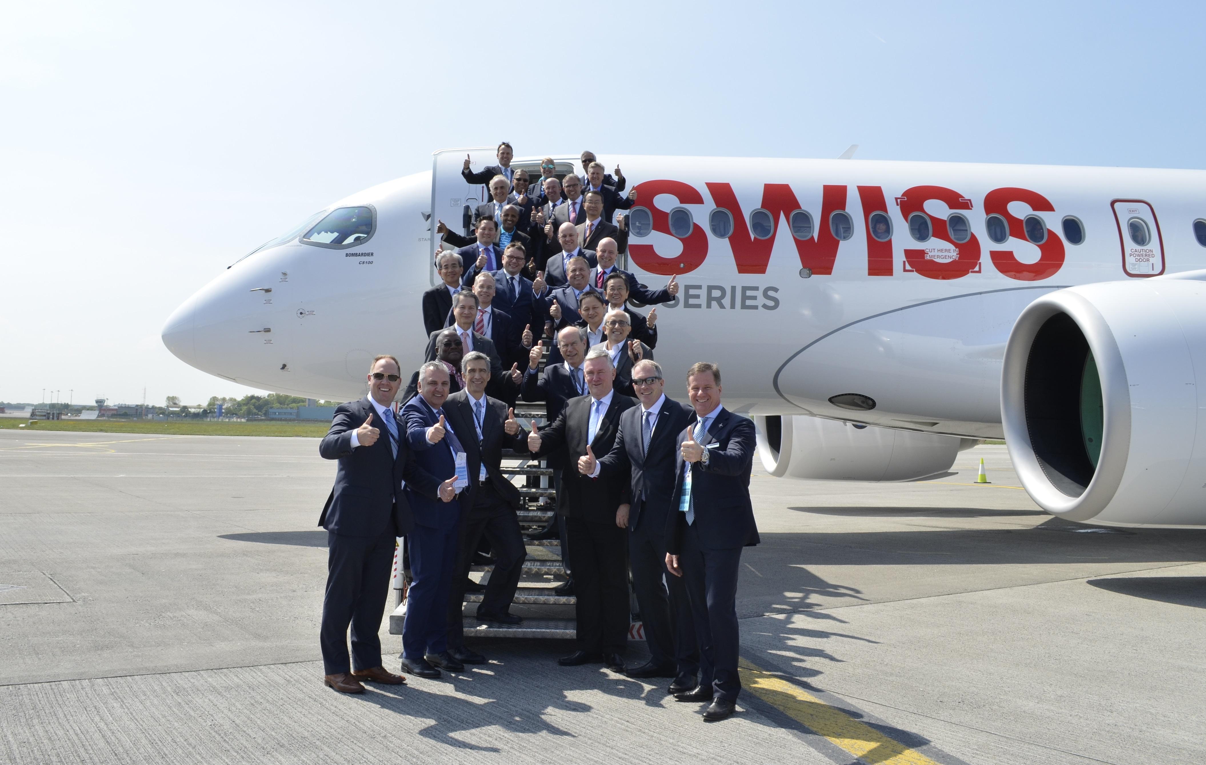 Topcheferne blandt flyselskaberne i Star Alliance blev transporteret fra Dublin til Zürich i et splinternyt Bombardier CS100-fly.