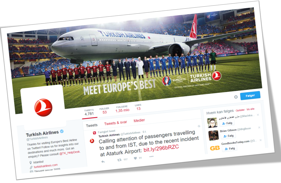 Turkish Airlines på Twitter. (29. juni kl. 10.30).