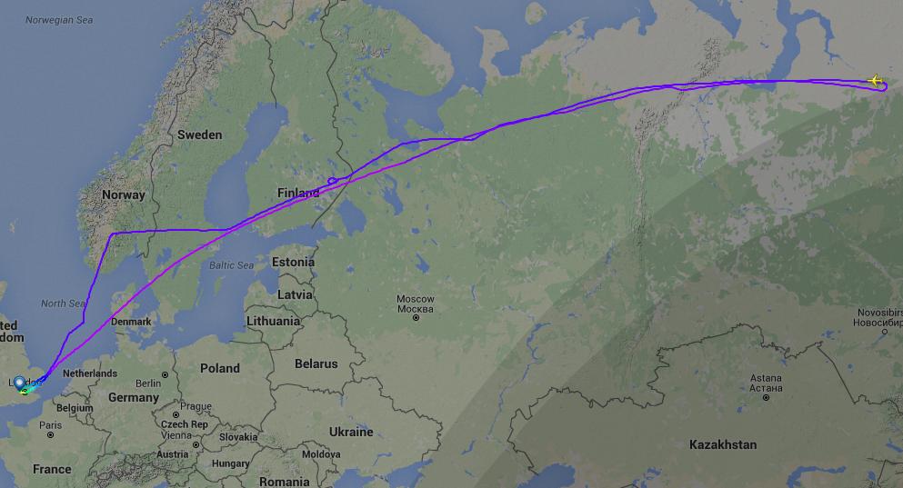 Den usædvanlige flyvning på BA007 den 7. juli. (Grafik: Flightradar24.com)