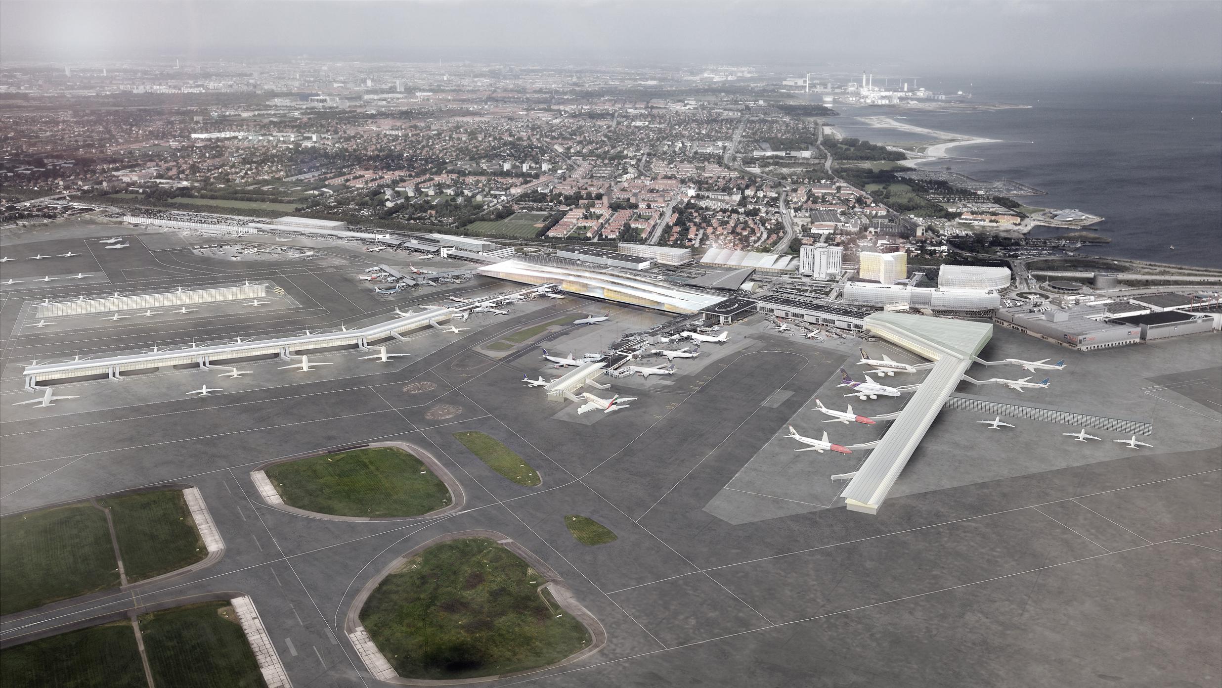 Det er forlængelsen af Finger B og en ny satellitterminal til venstre på tegningen, som kræver en lukning af tværbanen. Illustration: Københavns Lufthavn.