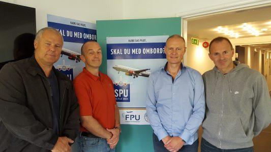 Bestyrelsen i SAS Pilot Union er fra venstre Lars Bjørking, formand Christian Vinther Fyrst, Per Bentien og Kent Bendixen.