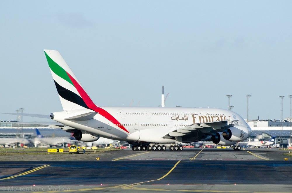 Emirates A380-800 i Københavns Lufthavn. (Foto Morten Lund Tiirikainen)