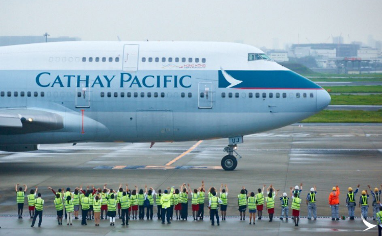 Cathay Pacific sidste flyvning fra Tokyo-Narita til Hong Kong med Boeing 747. (Foto: Cathay Pacific)