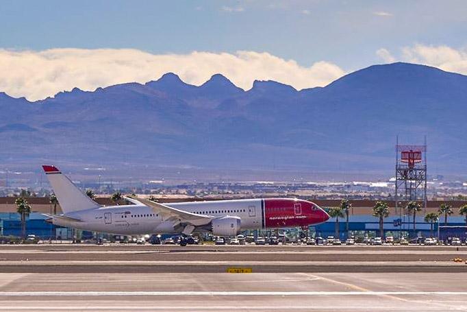 Norwegian-fly i Las Vegas. (Foto: McCarran InternationalAirport/PR)