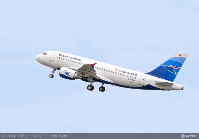 Atlantic Airways' første og indtil videre eneste Airbus  A320-fly under en testflyvning hos Airbus i Hamborg. Foto: Airbus.