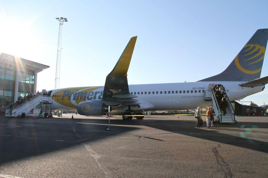 Primera Air i Aalborg Lufthavn. (Arkivfoto: Aalborg Lufthavn)