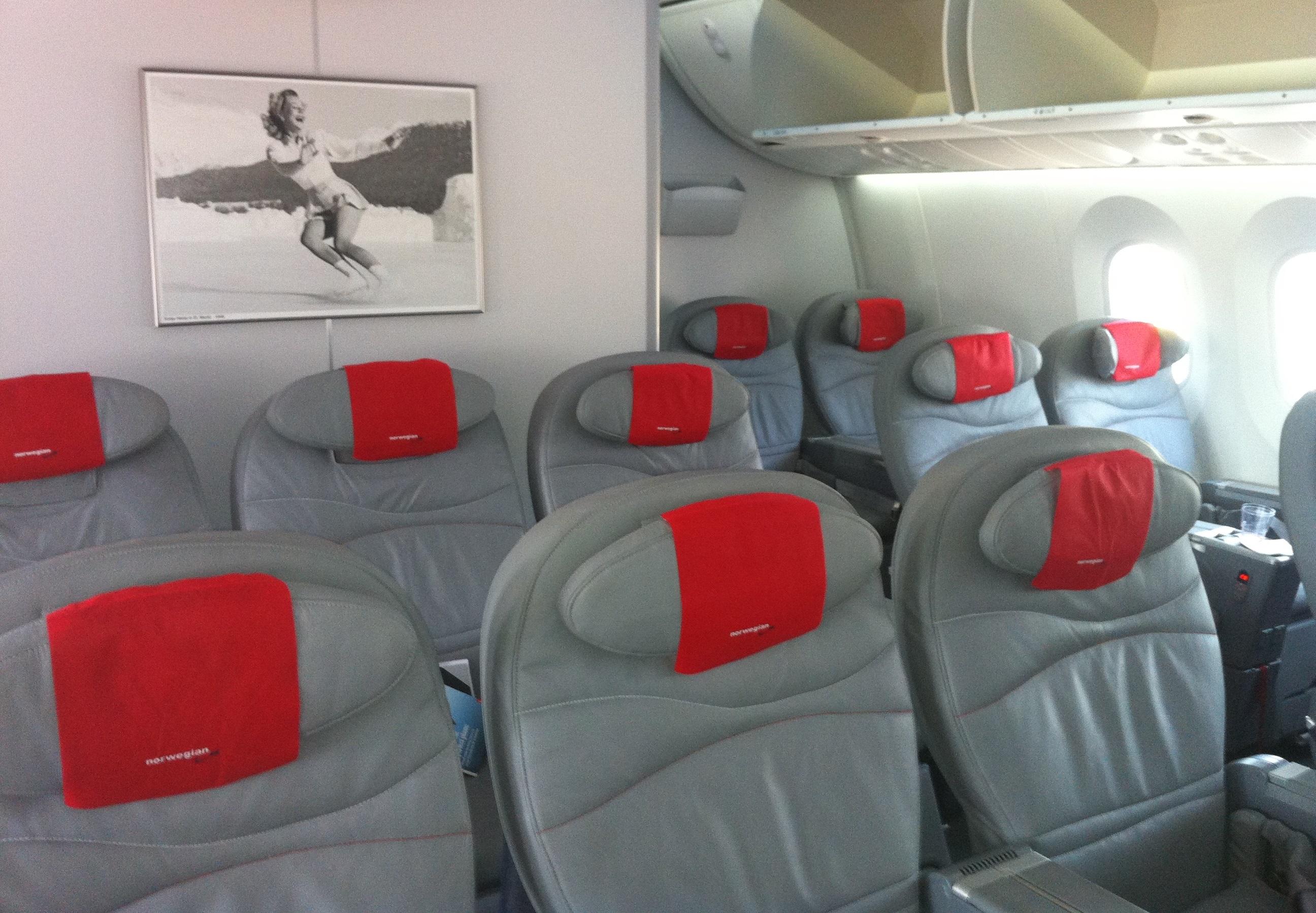 Premium-sæder i Norwegian Boeing 787-8 Dreamliner (Foto: Ole Kirchert Christensen)