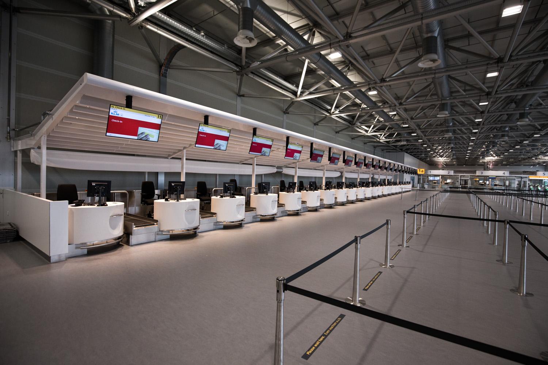 Den nye afgangshal har 22 check-in skranker. Foto: Schiphol Group.