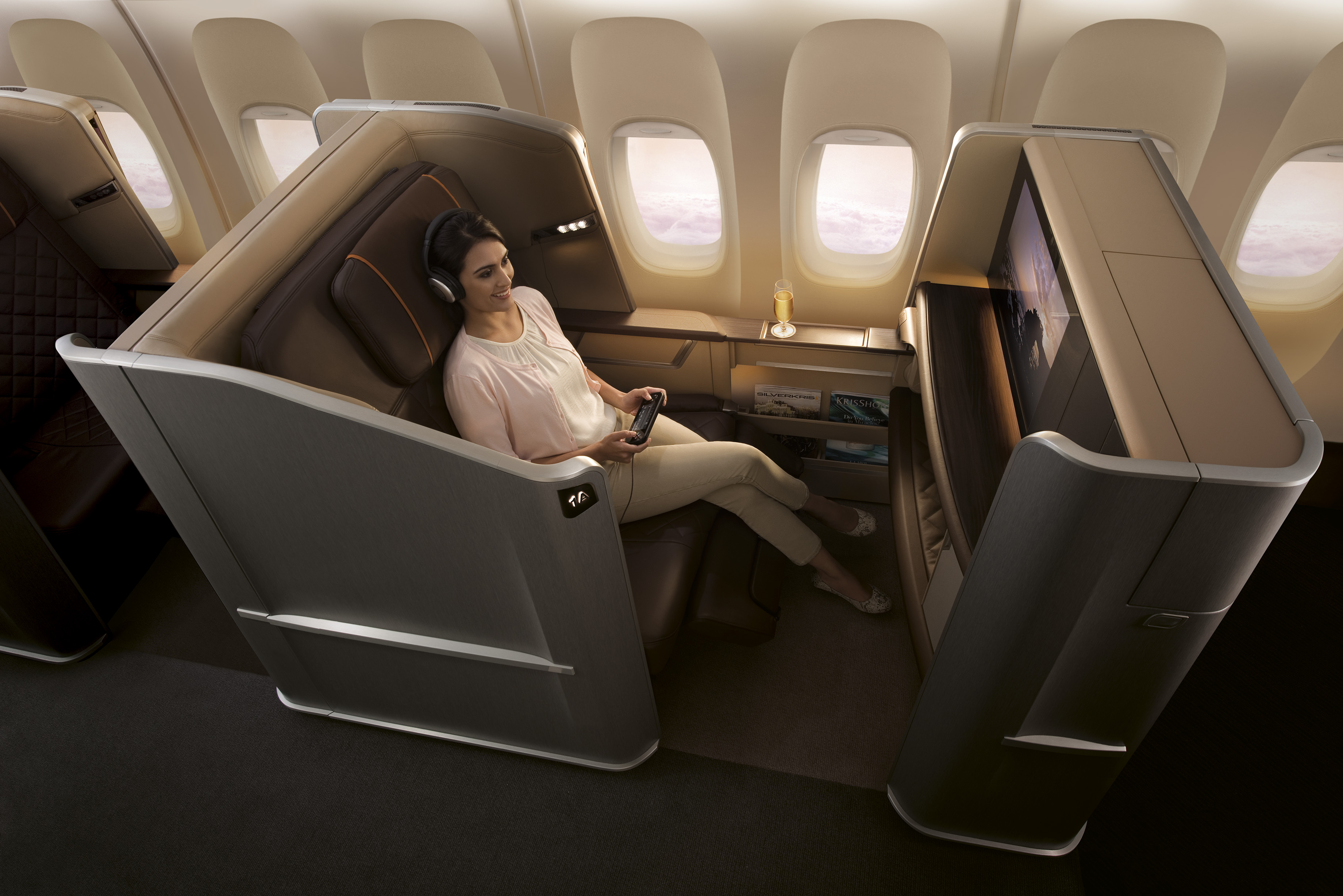 De nye First Class-sæder på Singapore Airlines Boeing 777-300ER fly.