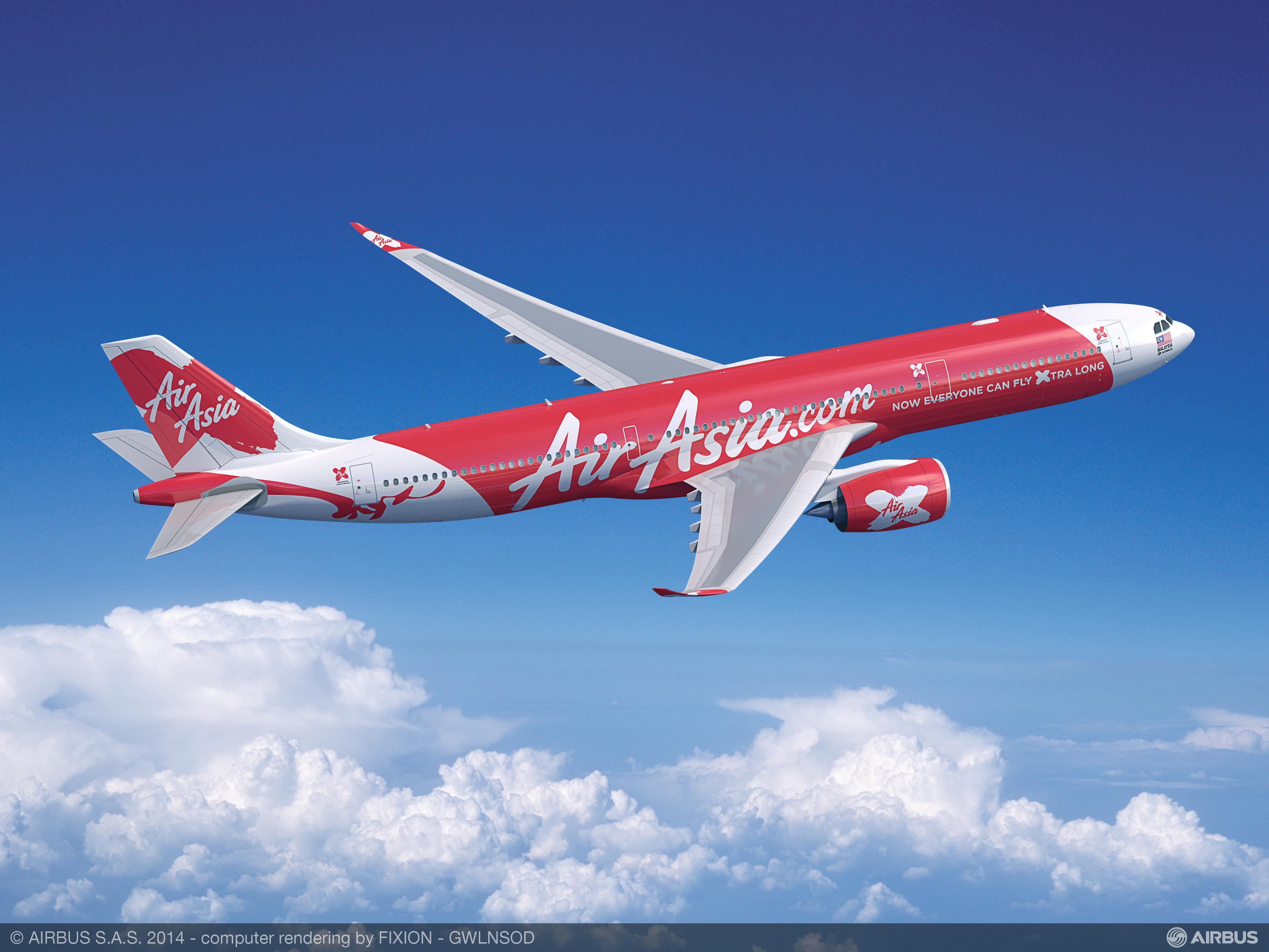 AirAsia X – Airbus A330-900neo.(Computergrafik: FIXION – GWLNSO)