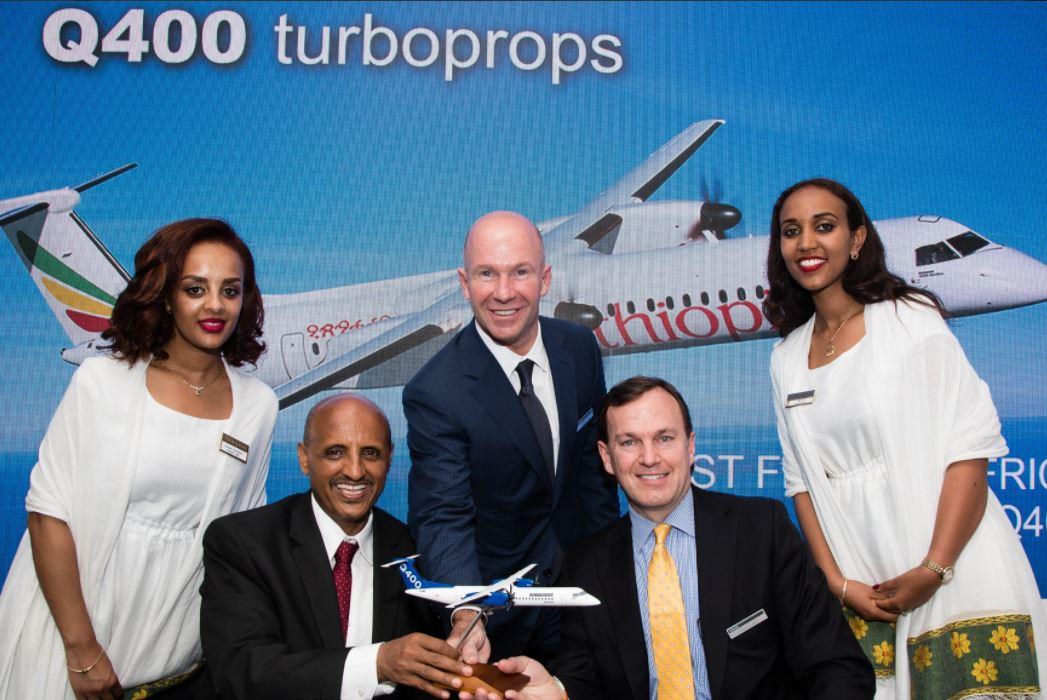 Ethiopean Airlines og Bombardier indgik en aftale om køb af fem Dash-8 Q400 fly. Foto: Bombardier.