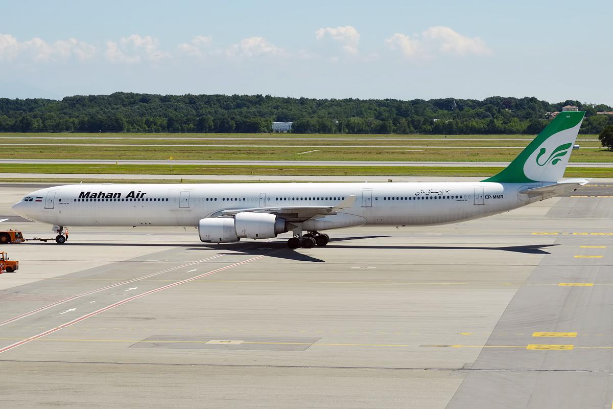 Mahan Air anvendte blandt andet sine lange Airbus A340-600 fly på CPH-ruten. Her er et A340-600 fly i Milanos Malpensa-lufthavn. Foto: Anna Zvereva / Wikimedia Commons.
