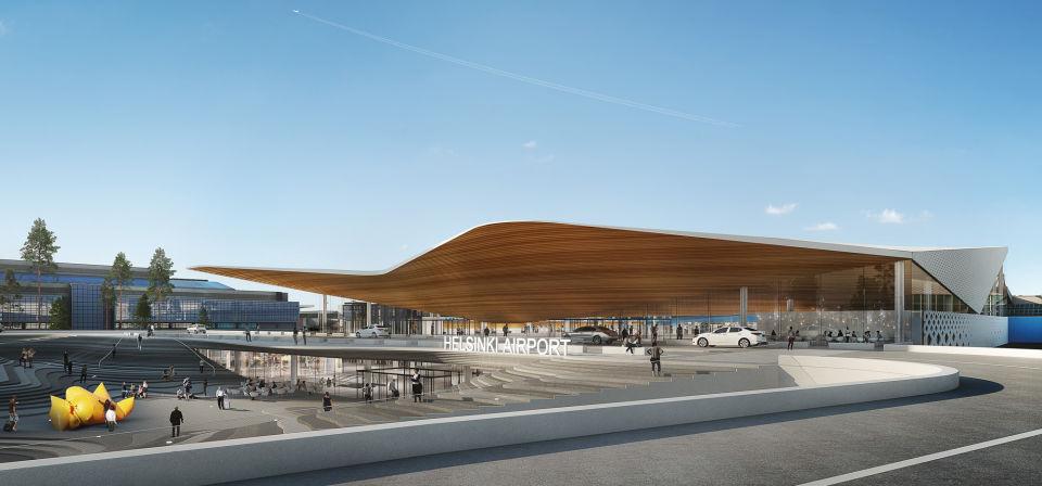 Visualisering af indgangsområdet til Terminal 2 (Foto: Finavia)