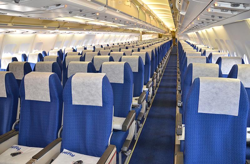 Economy Class-kabinen i Hifly Airbus A330-200 – CS-TQP (Foto: Hifly)