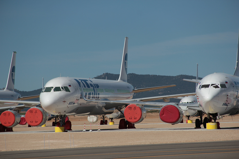 Oplagrede fly hos Tarmac Aerosave i Teruel. (Foto Tarmac Aerosave)
