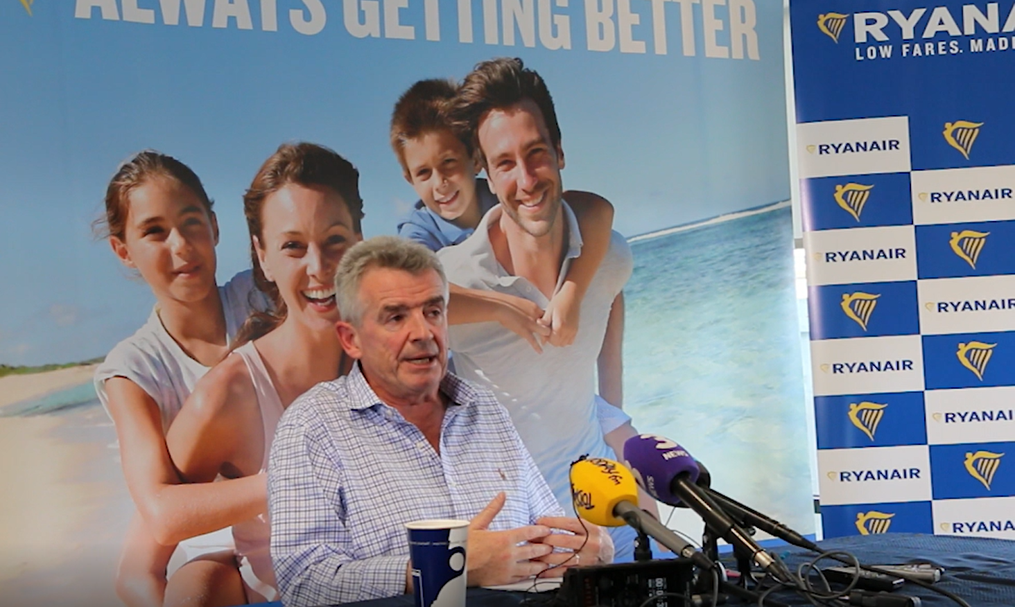 Ryanairs topchef Michael O´Leary ved et pressemøde i Dublin (Foto: Ryanair)