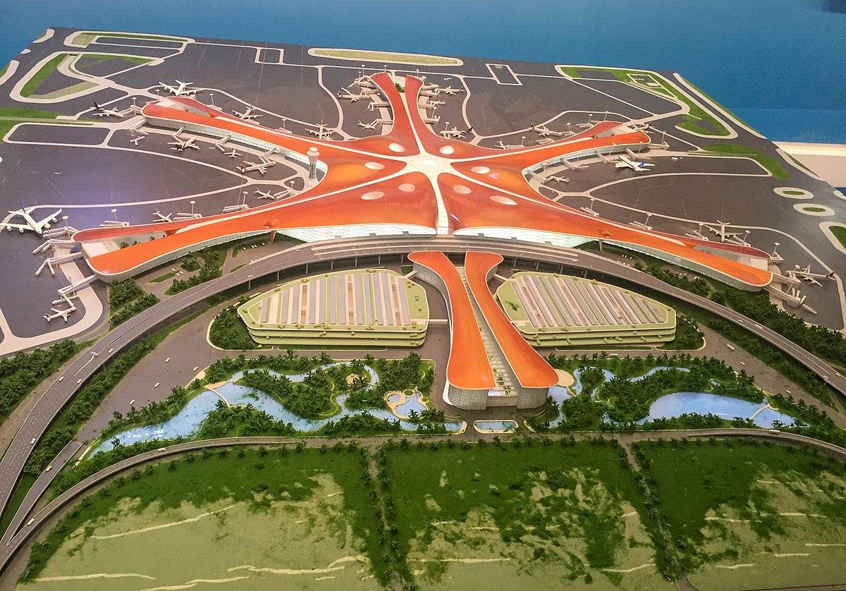 Illustration af den nye storlufthavn i Beijing.