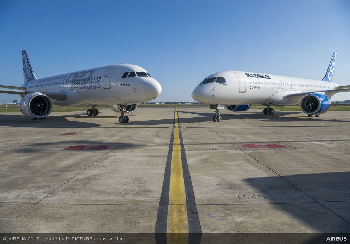 Airbus A320 (t.v.) og Bombardier CS300 (Foto: P. Pigeyre | master films)