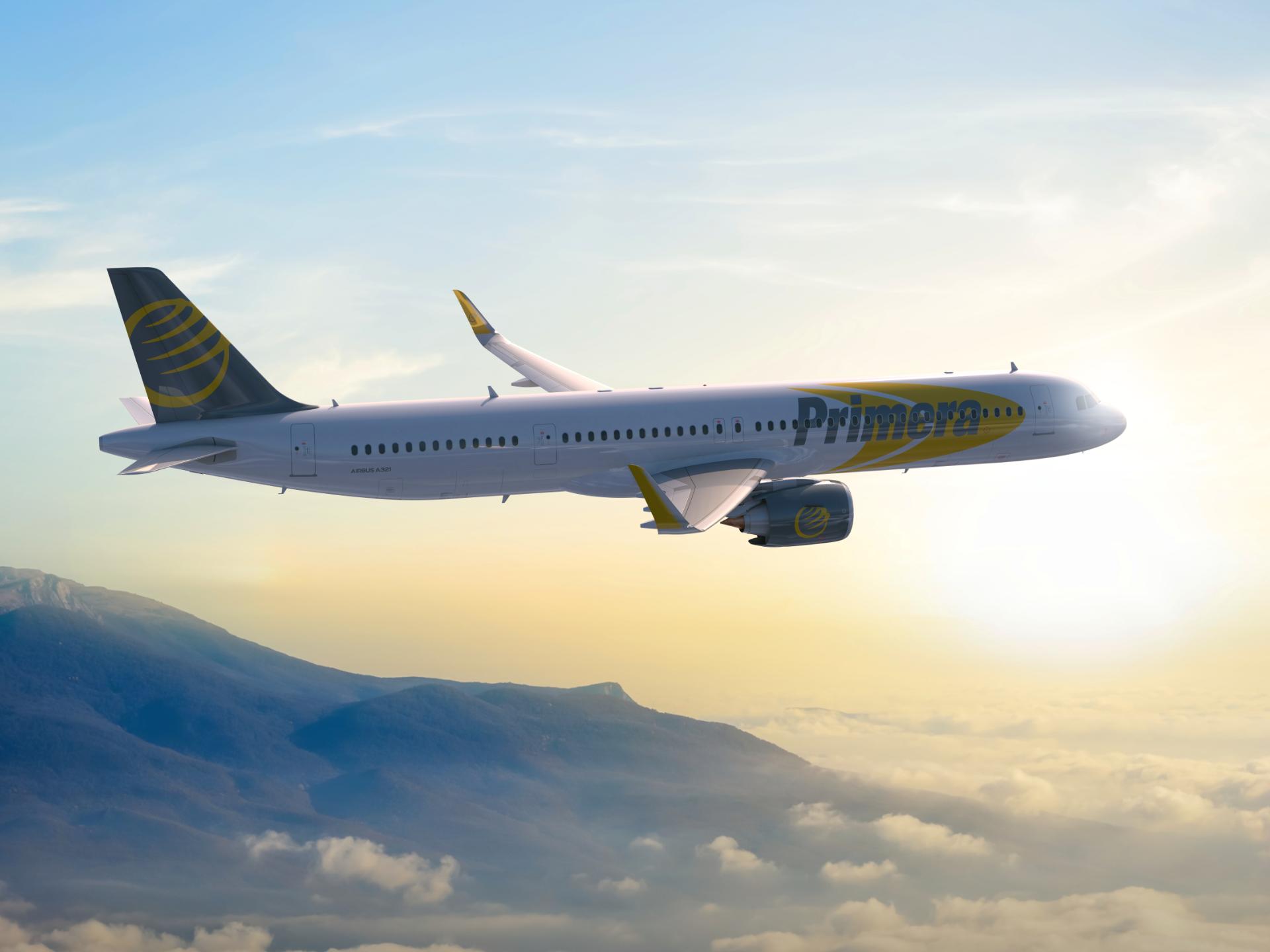 Illustration af et af Primera Airs kommende A321-fly.