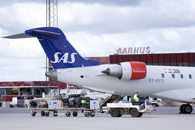 Bombardier CRJ900-fly fra SAS i Aarhus Lufthavn (Foto: Aarhus Airport)