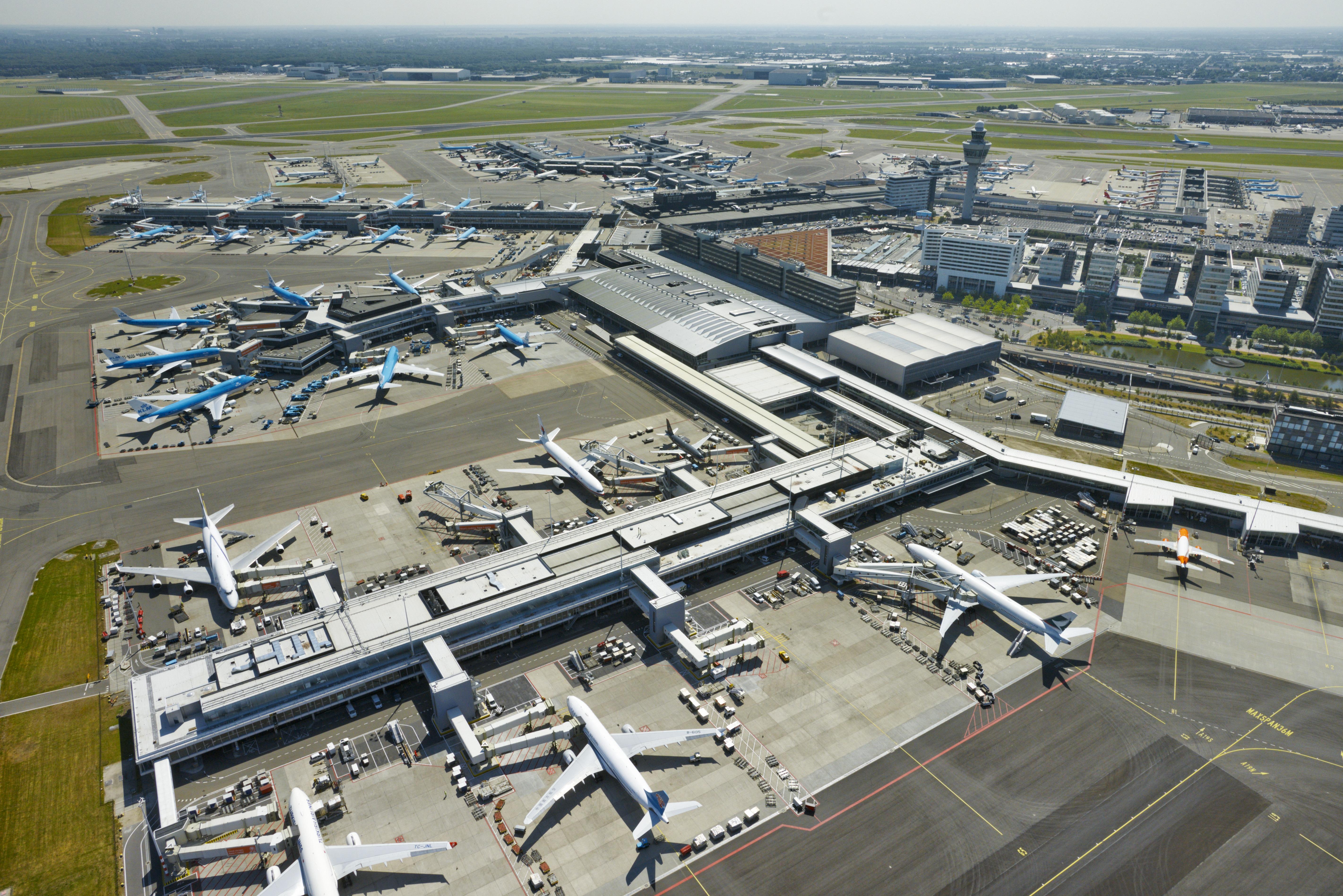 Luftfoto af airside-området i Schiphol Airport (Foto: Schiphol Group)