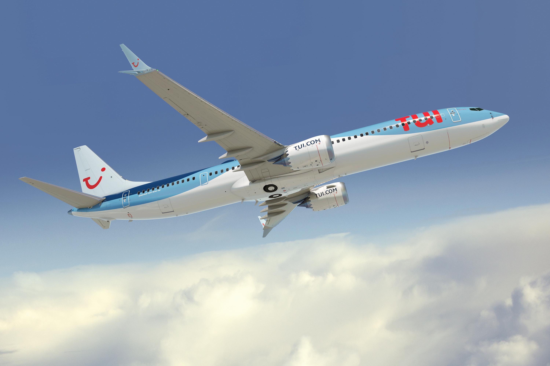 Illustration af Boeing 737 MAX-10 i TUI-farver.