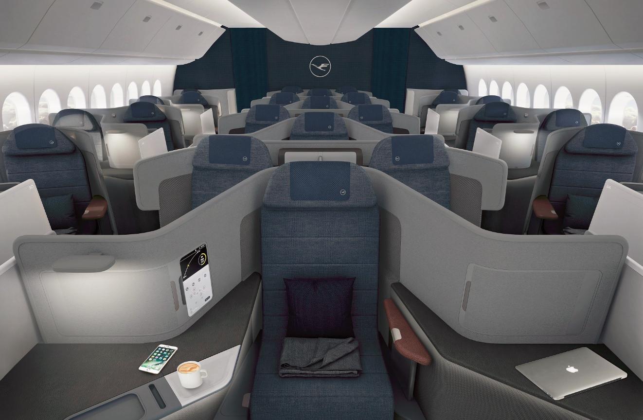 Business Class-kabine i Boeing 777-9. (Foto: Lufthansa)