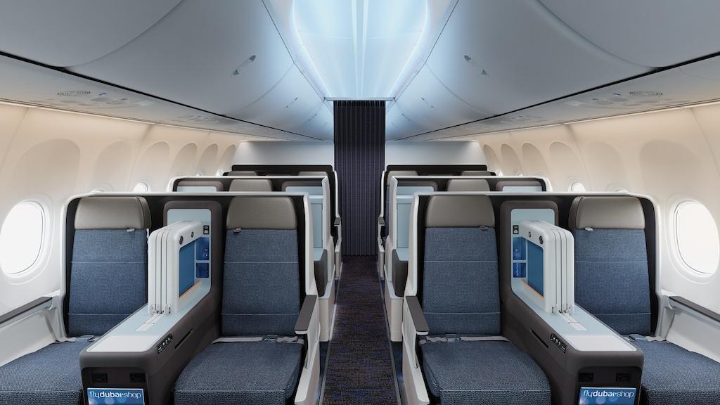 Business Class-kabine på Boeing 737 MAX fra flydubai. (Foto: flydubai.com)