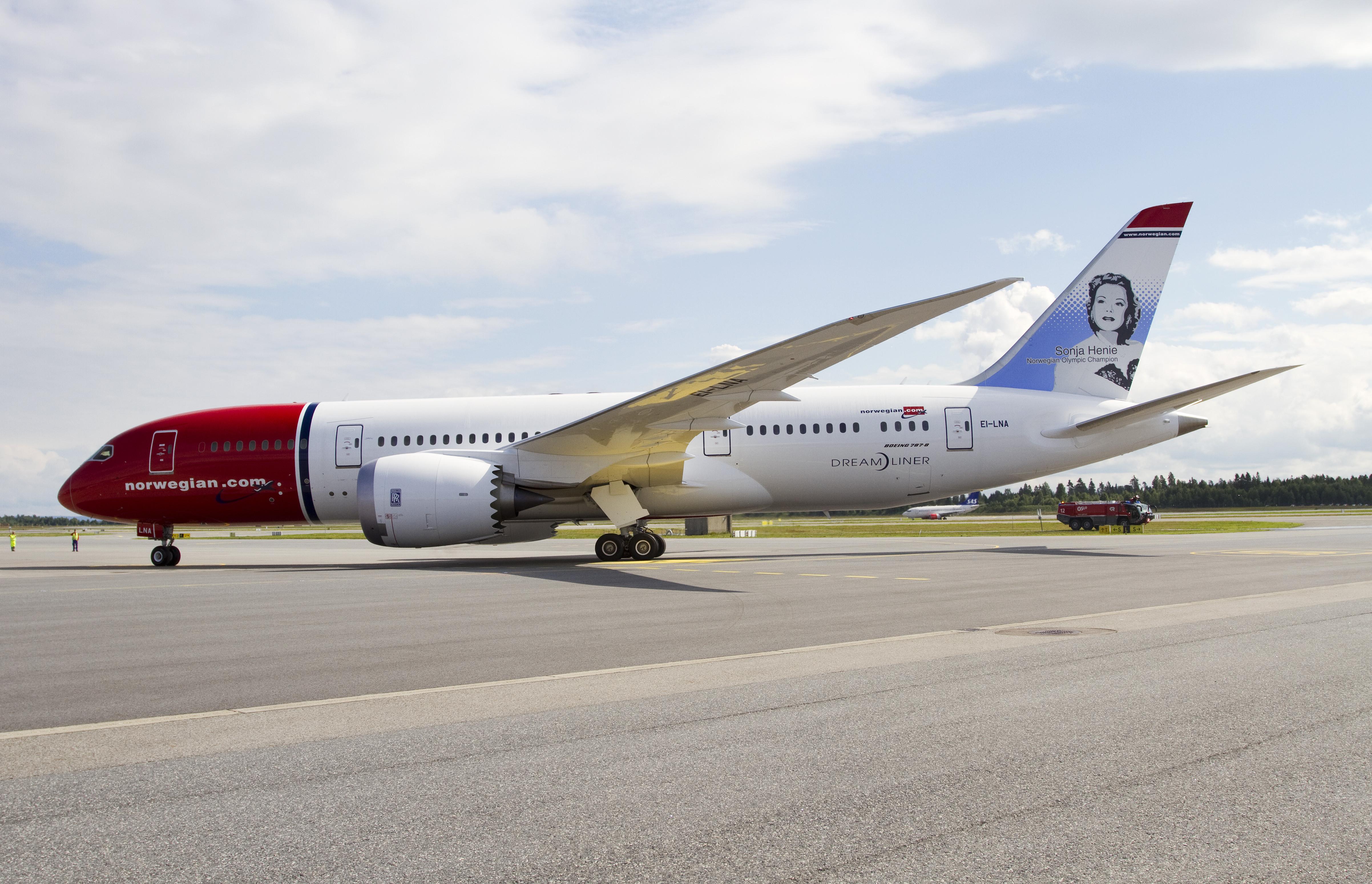 En Boeing 787-8 Dreamliner fra Norwegian. Foto: Norwegian