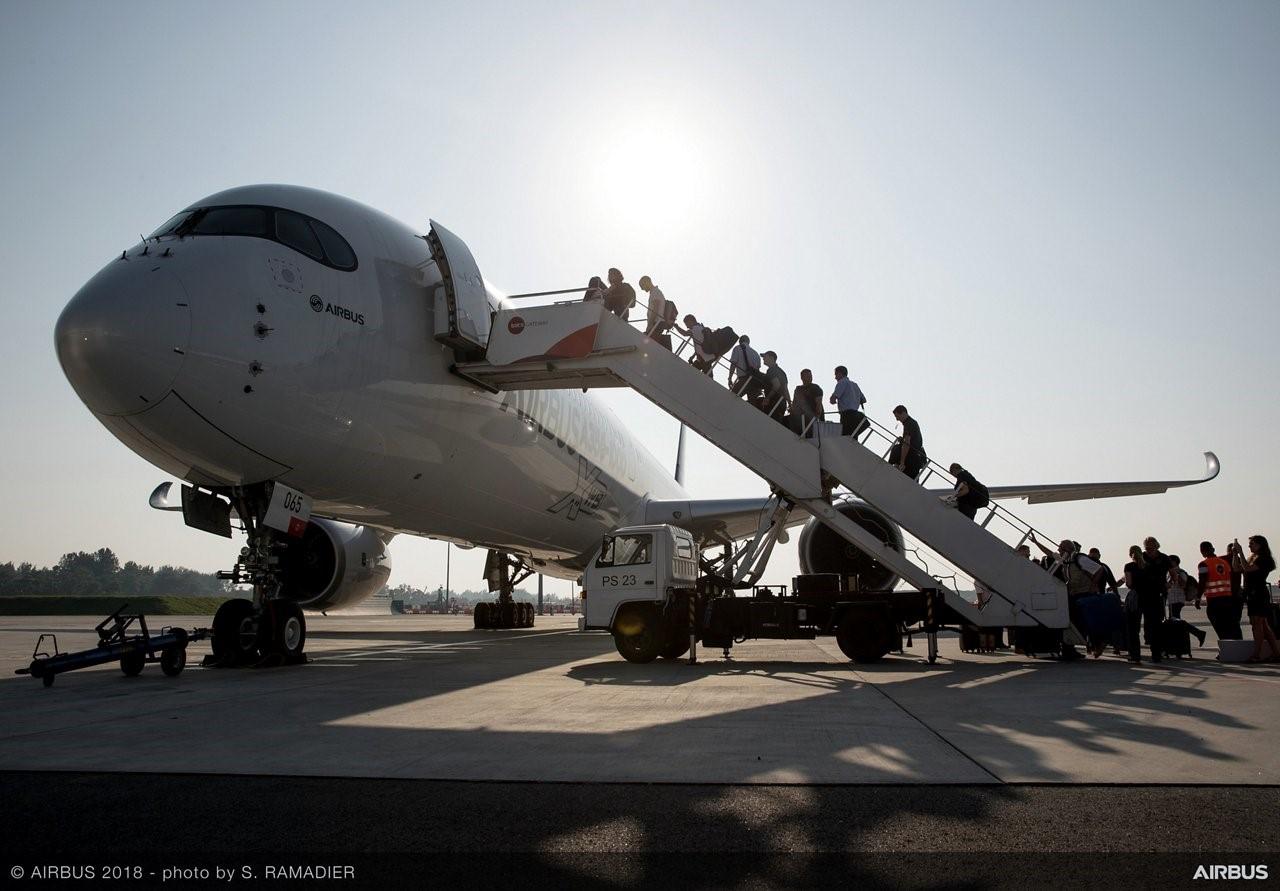 Airbus A350-1000 havde 10.000 besøgende på sin tre ugers rundrejse. Foto: Airbus.