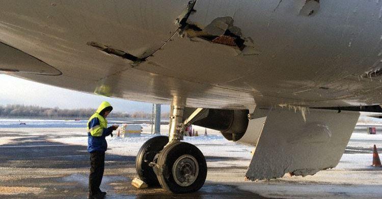 SmartLynx Airlines A320-200, ES-SAN efter den mislykkede træningsflyvning (Foto: The Aviation Herald)