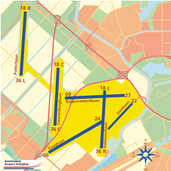 Baneoversigt for Amsterdam Schiphol Airport.