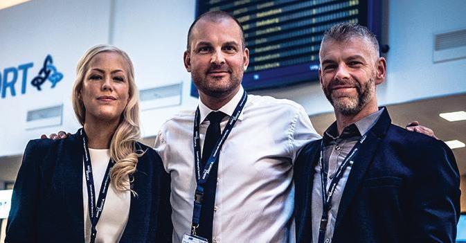 Aarhus Lufthavns ruteudviklingsteam, t.v. Dortea Grønbæk, Peter Høgsberg og David Surley (Foto: AAR)