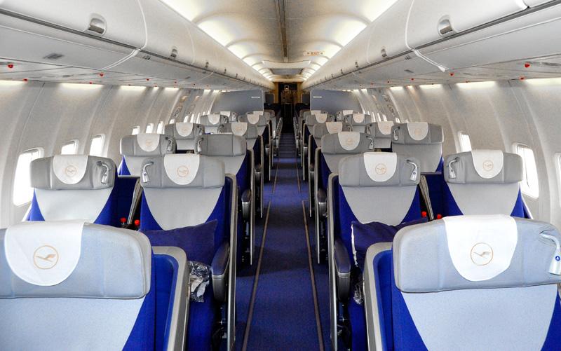 Kabinen i Boeing 737-700-flyet fra PrivatAir, der skal operere for Lufthansa på ruten fra Düsseldorf til New York-Newark. Foto: PrivatAir