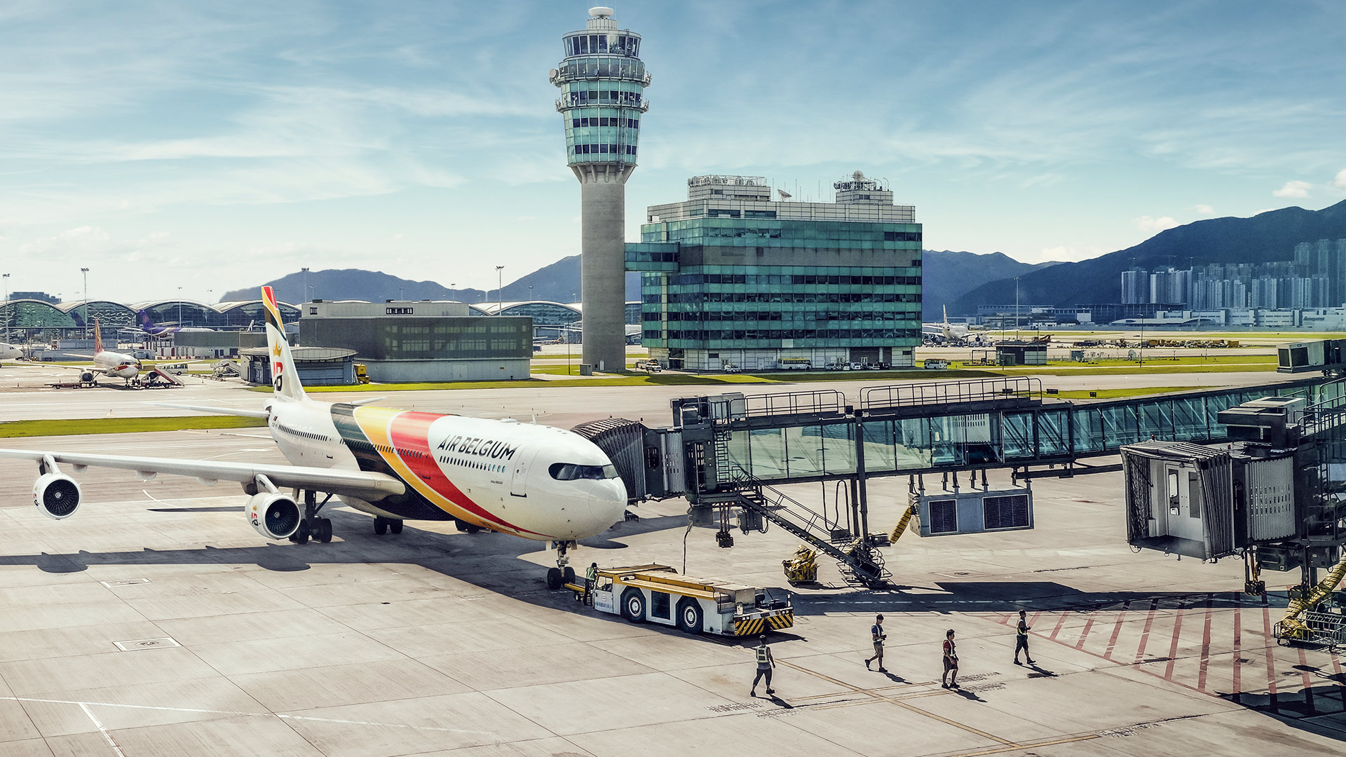 Air Belgium A340-300 i Hong Kong International Airport (Foto: Air Belgium)