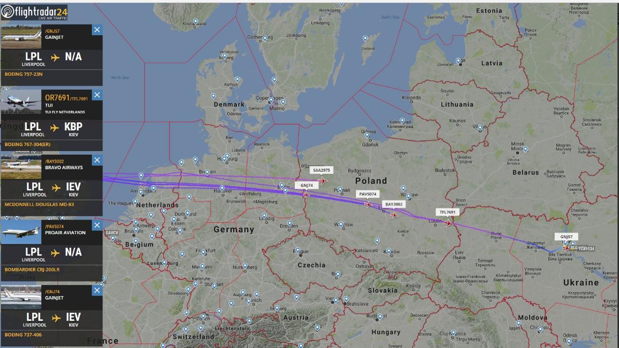 Radarbillede fra Flightradar24 under luftbroen fra Liverpool til Kiev.