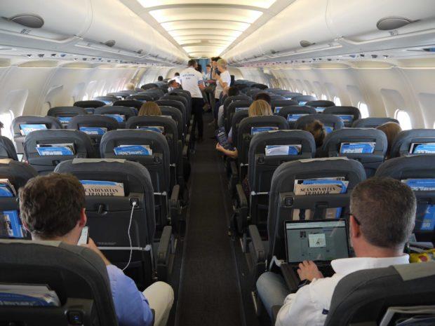 SAS WiFi præsentation på Airbus A321 fra København. Foto: Jan Aagaard