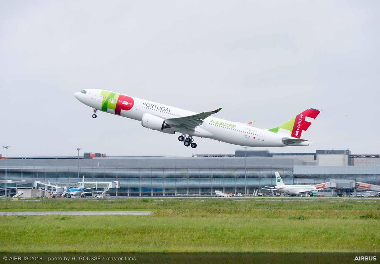 TAP A330-900 på jomfruflyvning i Toulouse. (Foto: H. GOUSSÉ | master films)
